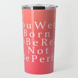 Modern Coral Peach White Inspirational Quote Travel Mug