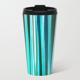 Turquoise and Cyan Ocean Stripy Lines Pattern Travel Mug