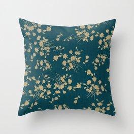 Gold Green Blue Flower Sihlouette Throw Pillow