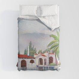 'Hacienda con fuente' landscape portrait by Antonio Ruiz Comforters