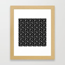 Greyhound floral silhouette black and white minimal dog silhouette dog breed pattern Framed Art Print