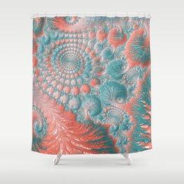 Abstract Living Coral Reef Nautilus Pastel Teal Blue Orange Spiral Swirl Pattern Fractal Fine Art Shower Curtain