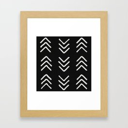 Charcoal & soft white brushed arrow heads, textured background Framed Art Print