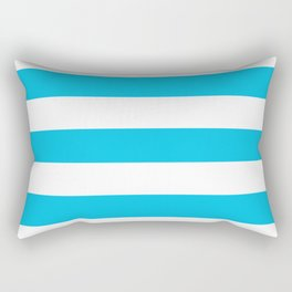 Blue raspberry - solid color - white stripes pattern Rectangular Pillow