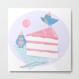 Bluebirds LOVE Birthday Cake Metal Print