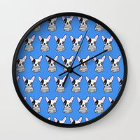 frenchie Wall Clocks featuring frenchie by turddemon