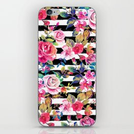 Cute spring floral and stripes watercolor pattern iPhone Skin