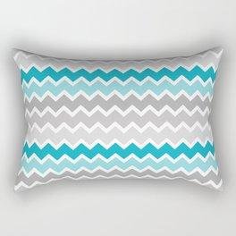 Turquoise Teal Blue Gray Chevron Rectangular Pillow