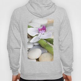 white Orchid flower  and green Bamboo still life Hoody