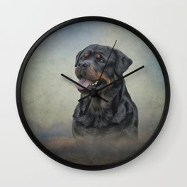 Drawing dog rottweiler 10 Wall Clock