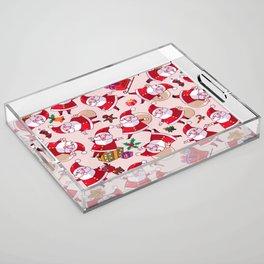 Santa Gift Pattern Acrylic Tray