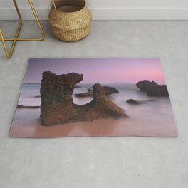 Roche Reefs. Cadiz. At pink Sunset. Spain Rug