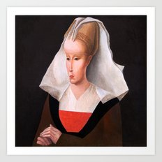 Portrait of a woman. After Rogier van der Weyden. From the series inspired by the Great Masters. Art Print