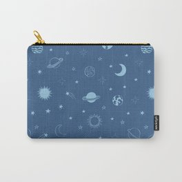 Stars and Planets Pattern - Blue Carry-All Pouch