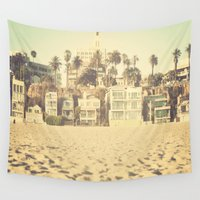 santa monica Wall Tapestries featuring Santa Monica Beach Houses by SoCal Chic Photography