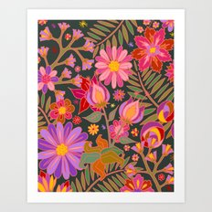 Flowers on Green Art Print