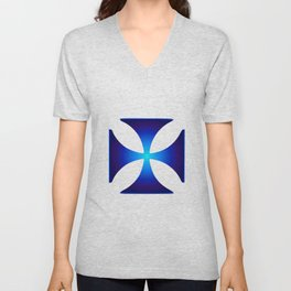 Glowing symbol Cross Pattee (Christianity) Unisex V-Neck