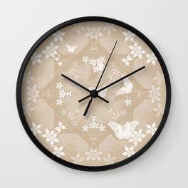 Dreamy butterflies and mandala in iced coffee Wall Clock