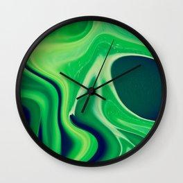 Harmonious Greens Abstract Art, Digital Fluid Artwork Wall Clock