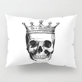Skull King   Skull with Crown   Black and White   Pillow Sham