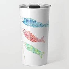 Watercolor Japan Carp Streamers / Koinobori Travel Mug