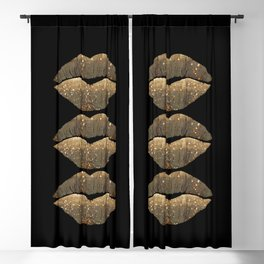 Golden Motes Kissing Lips Blackout Curtain