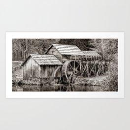 Frozen Mabry Mill Sepia Panorama - Virginia Blue Ridge Parkway Art Print