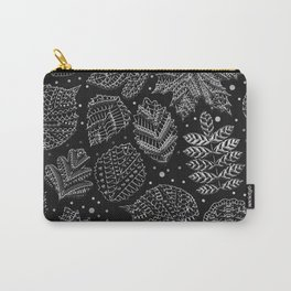 Silver Metal Embossed Leaf Pattern Carry-All Pouch