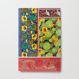 Nasturtium Art Nouveau Flower Tiles Metal Print