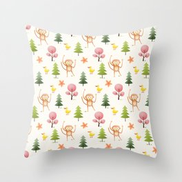 Pastel pink floral brown funny monkey yellow duck pattern Throw Pillow