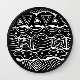 Wavy Tribal Lines with Shapes - White on Black - Doodle Drawing Wall Clock