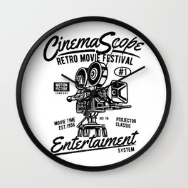 Old movie camera, retro movie festival, for film fans Wall Clock