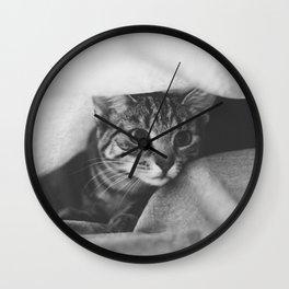 hunting cat black & white Wall Clock