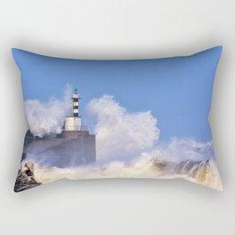 Stormy wave over lighthouse and pier of San Esteban de Pravia Rectangular Pillow