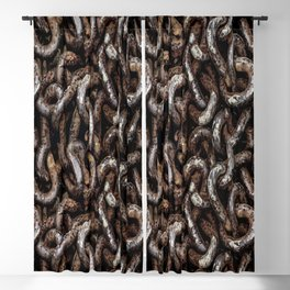 Chain Pattern Grunge Print Blackout Curtain