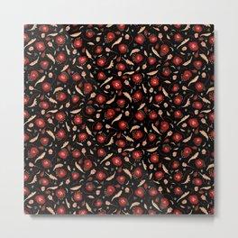 Walk in a Poppy Field, Black & Green Watercolor amongst Red Poppies , Flowers, Leaves & Seedpods Metal Print