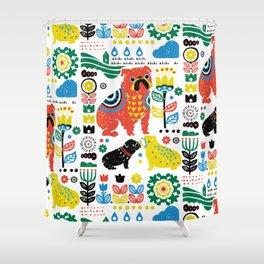 Scandinavian English Bulldog Shower Curtain