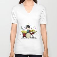 chibi V-neck T-shirts featuring Chibi Drummer by Jelo