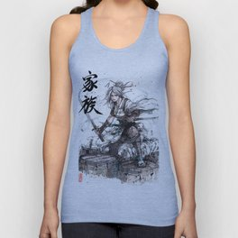Samurai Girl with Japanese Calligraphy - Family - Ciri Parody Unisex Tank Top