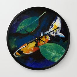 Koi and Banyan Leaves Wall Clock