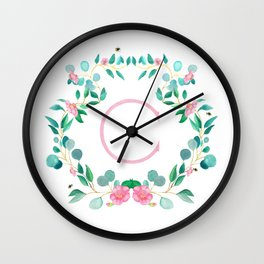 Camelia Wreath Monogram C Wall Clock