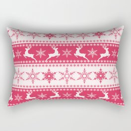 Christmas red and white pattern with decorative bands. Rectangular Pillow