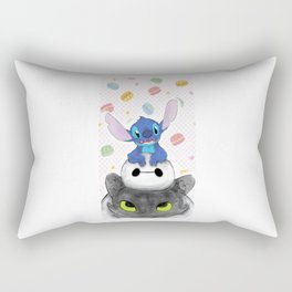 Baby Toothless Dragon and Stitch Rectangular Pillow