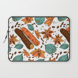 Spices. Pattern. Cinnamon, cardamom, nutmеgб coffee bean. Laptop Sleeve