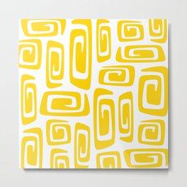 Mid Century Modern Cosmic Abstract 613 Yellow Metal Print