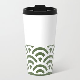 Rainbow Trim Forest Dark Green Travel Mug
