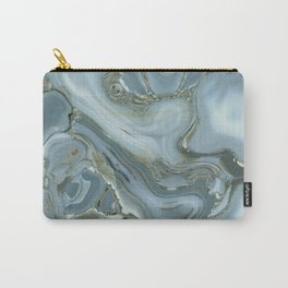 Precious Teal Blue Gemstone Agate Collage Carry-All Pouch