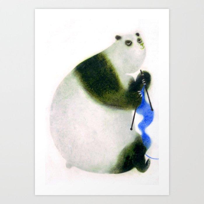 """Un panda tricote..."" Book cover Art Print"