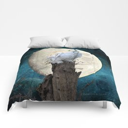 White Snowy Owl Bird Moon Blue A141 Comforters