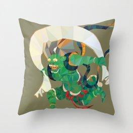 polygonal representation of Fūjin (japanese god of wind) Throw Pillow